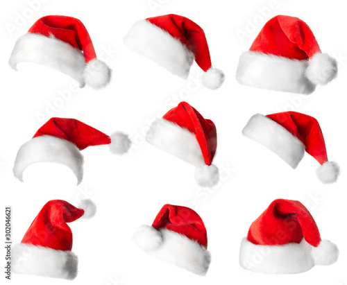 Fotografia  Santa Claus red hats