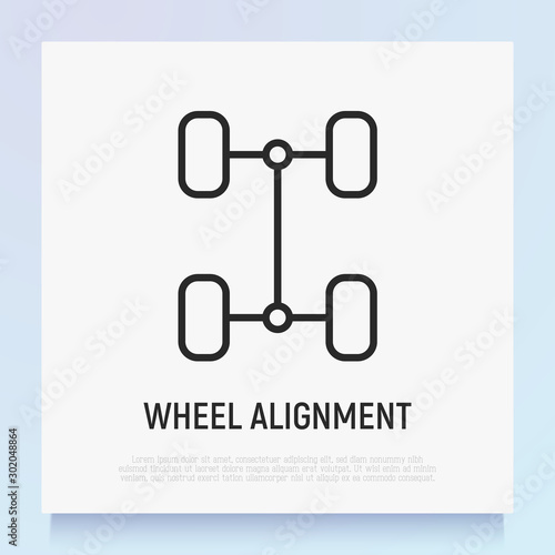 Wheel alignment thin line icon Wallpaper Mural