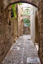 Narrow Stone Paved Street.