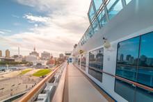 Side Balcony Of Diamond Princess Cruise Ship With The View Of Yokohama Port In Background.