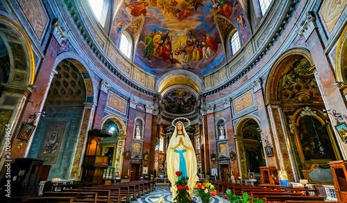 Photo Mary Statue Frescoes Basilica San Giacomo Augusta Church Rome Italy