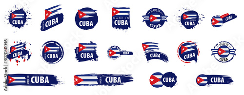 Cuba flag, vector illustration on a white background Wallpaper Mural