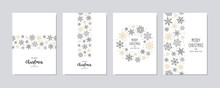 Merry Christmas Modern Elegant Card Set With Snowflakes Greetings And On White Background