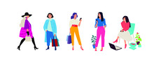 Illustration Of Fashionable Girls In Bright Clothes. Vector. Women Go About Their Business. Casual Style Of Dress. Flat Style. Image Is Isolated On A White Background.