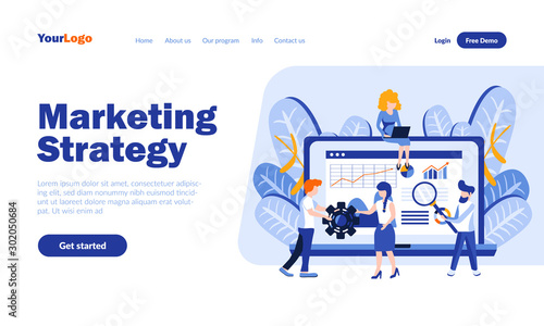 Fotomural Marketing strategy vector landing page template with header