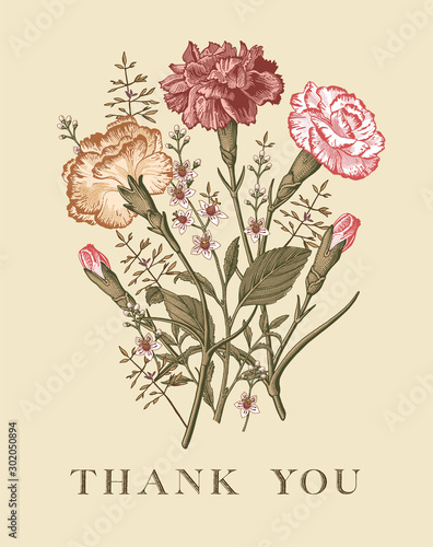 Fototapety, obrazy: Wedding bouquet Thank You love. Beautiful blooming flowers. Vintage greeting card. Frame Baroque. Drawing engraving. Carnation clove Croton isolated floral. Wallpaper background. Vector illustration.