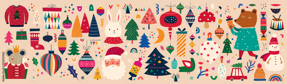 Fototapety, obrazy: Christmas decorative banner with incredible illustration in vintage style