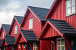 canvas print picture - traditional norwegian red lined houses