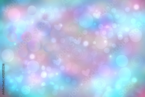 Abstract festive blur bright blue pastel background with pink hearts love bokeh and stars for wedding card or Valentine's day.  Romantic textured backdrop with space for your design. Card concept.