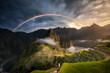 Leinwandbild Motiv Incredible Machu Picchu Rainbow Sunrise above the Sacred Valley in the Peruvian Andes Peru South America