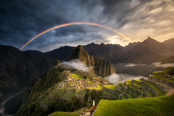 Incredible Machu Picchu Rainbow Sunrise above the Sacred Valley in the Peruvian Andes Peru South America