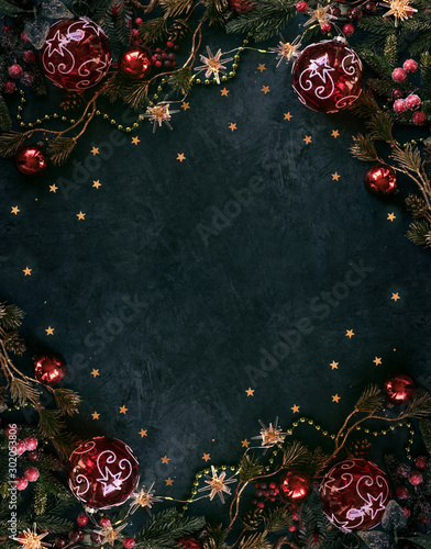 Spoed Fotobehang Kerstmis Christmas decor background with place for text