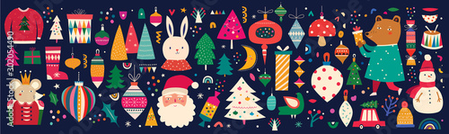 Christmas decorative banner with incredible characters in vintage style Slika na platnu