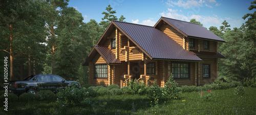 Foto Cottage beamed. Wooden.