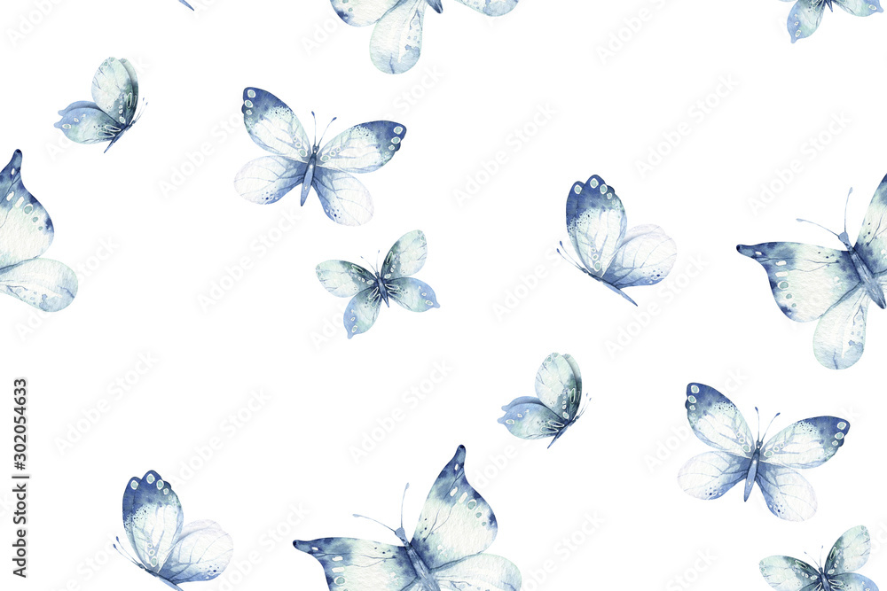 Fototapety, obrazy: Watercolor colorful butterflies, butterfly, bugs seamless pattern on white background. blue, yellow, pink and red butterfly spring illustration.