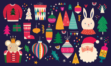 Christmas Decorative Illustration In Vintage Style
