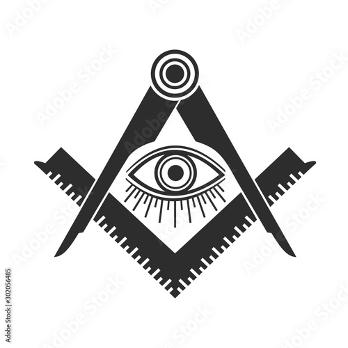 Vászonkép Masonic Freemasonry Emblem Icon Logo