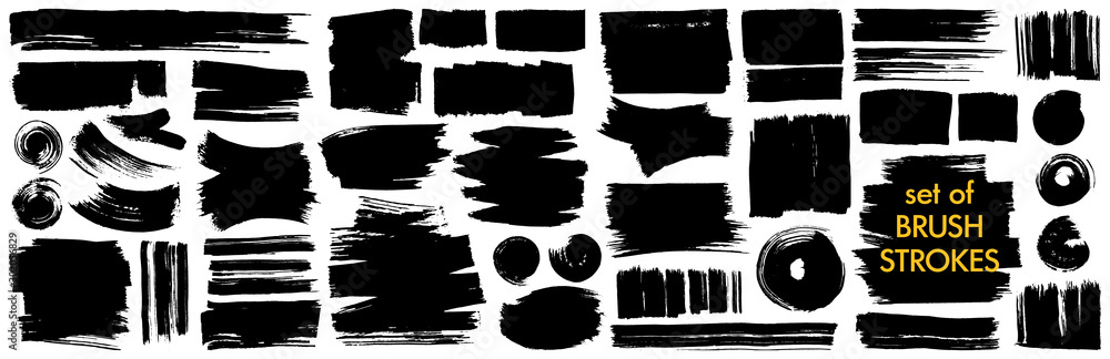 Fototapeta Collection of different ink brush strokes:rectangle,square and round freehand drawings.Ink splatters,grungy painted lines,artistic design elements.Vector paintbrush set.