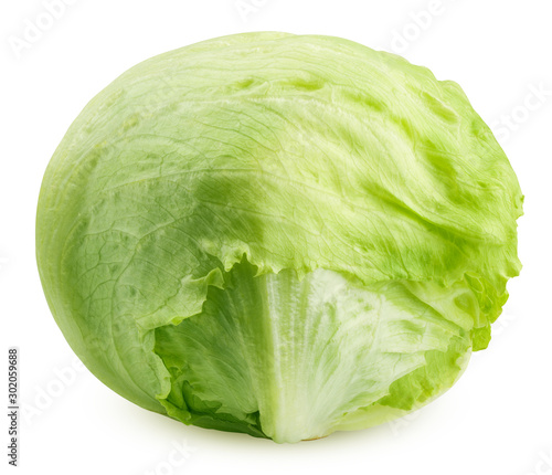 Green iceberg lettuce isolated on white background, clipping path, full depth of field