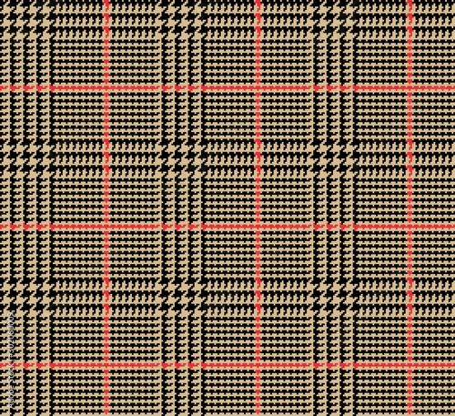 Prince of Wales Style Glen Plaid in Tan and Black with Red Overcheck Stripes Canvas Print