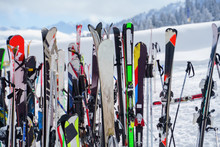 Image Of Multi-colored Skis An...
