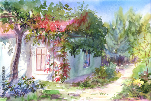 Fototapety, obrazy: House in the garden,hand drawn.Watercolor sketch