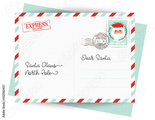 Photo Dear Santa Claus Letter. Postcard with stamps and mark