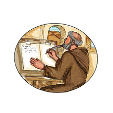 Medieval Monk  In Monastery Writing Book Drawing