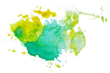 Watercolor Multicolored Abstract Spot With Yellow Green Flowers In Cool Shades. Grunge Stain With Droplets Of Paint Spilled Uneven Edges
