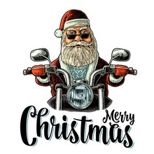 Santa Claus Riding A Motorcycle. Vector Vintage Black Engraving