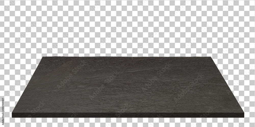 Fototapety, obrazy: Empty black stone or granite table top isolated on checkered background including clipping path