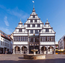 The Renaissance Town Hall Was Constructed In 1616 On A Market Square Of The City Of Paderborn, North Rhine-Westphalia, Germany, Europe