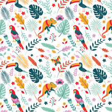 Vector Pattern. Exotic Tropical Texture For Printing, Web Design, Poster Template. Toucan, Chameleon, Parrot