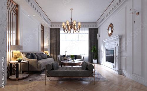 Fototapeta 3d render. Living room interior. obraz