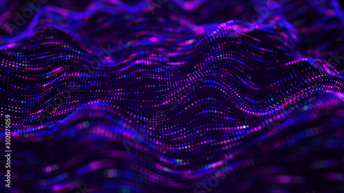 Foto op Aluminium Fractal waves Futuristic dots background. Color music sound waves. Big data visualization. 3d rendering.