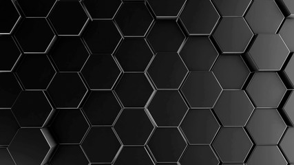 Dark hexagon geometry background. 3d illustration of simple primitives with six angles in front
