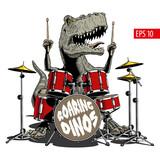Fototapeta Dinusie - Dinosaur playing drums. Tyrannosaurus or T. rex. Vector illustration.