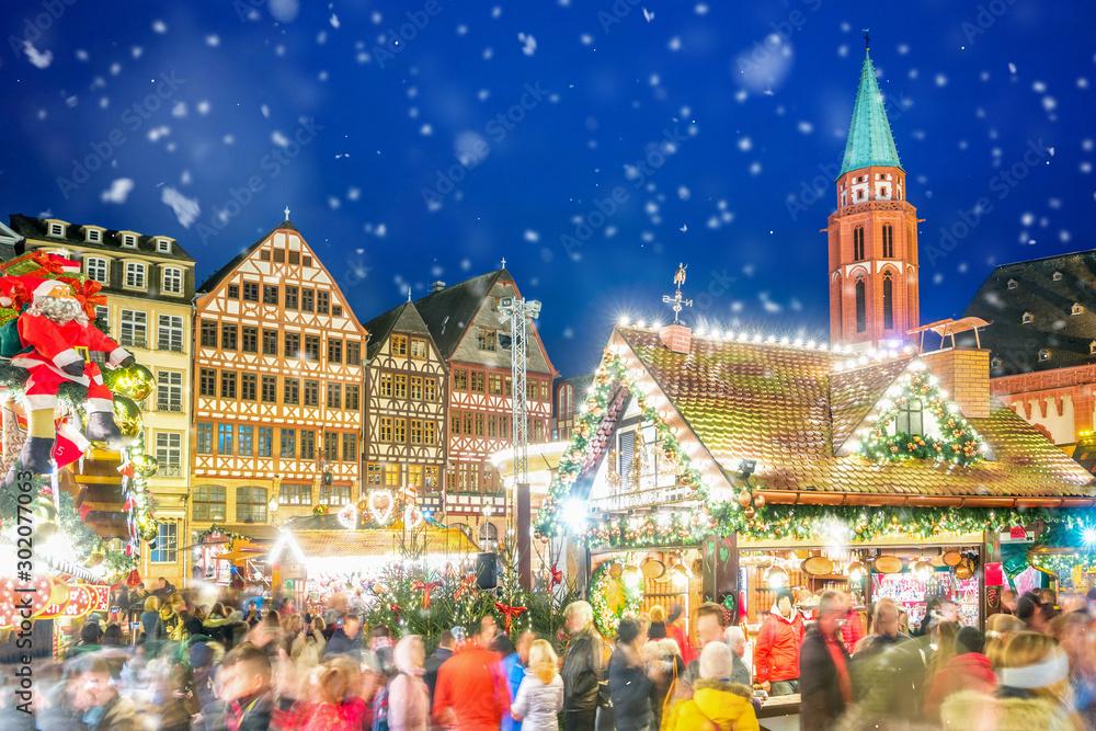 Fototapeta Weihnachtsmarkt am Römerberg, Frankfurt am Main, Hessen, Deutschland
