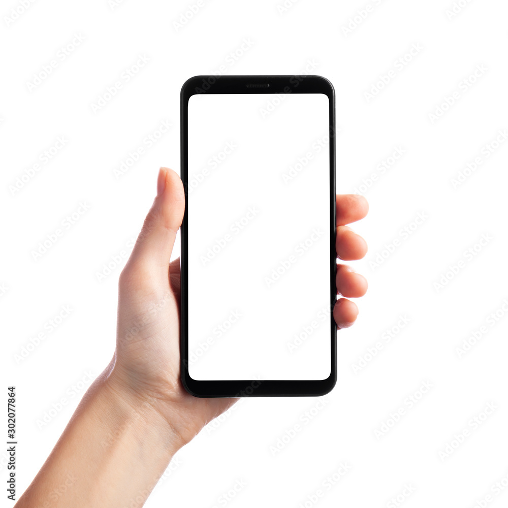 Fototapety, obrazy: Woman holding smartphone with empty screen isolated on white background, front view. Space for text
