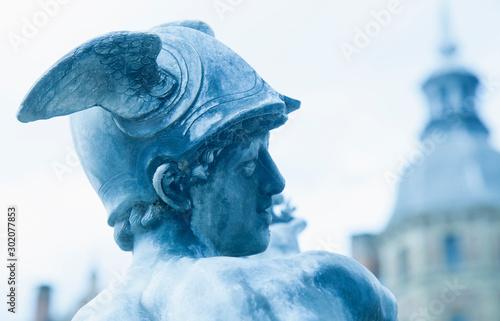 Fototapeta Helmet with wings of antique god of commerce, merchants and travelers Hermes (Mercury)