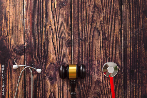 Concept of fraud in medical hospitals of america, judge tools seen from above Wallpaper Mural