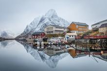 Winter Scene Of Reine Fishing Town At Norway