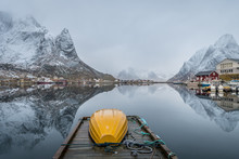 Winter Scene Of Reine Fishing Town At Norway