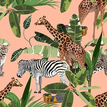 Seamless Pattern, Background With Adult Zebra, Leopard And Giraffe And Zebra. Realistic Drawing, Animalism. Hand Drown Illustration. On Soft Orange Background.