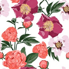 Panel Szklany Podświetlane Peonie Floral Seamless Pattern with many kind of Peonies. Spring Blooming Flowers Background for Fabric, Prints, Wedding Decoration, Invitation, Wallpapers, Wrapping Paper.