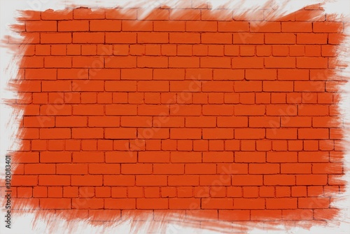Red wall with jagged white frame. Canvas