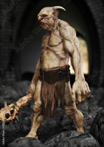 Portrait of a evil troll with spiked club, patrolling under a bridge. 3d rendering - 302085471