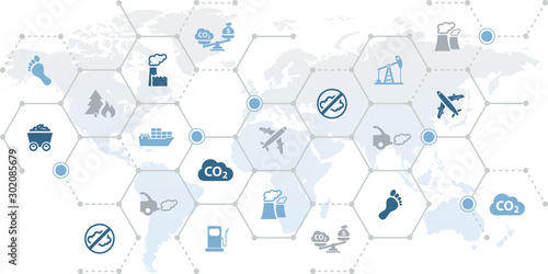 Fototapety, obrazy: CO2 icon concept: carbon dioxide emissions / pollution: symbols on world map – vector illustration
