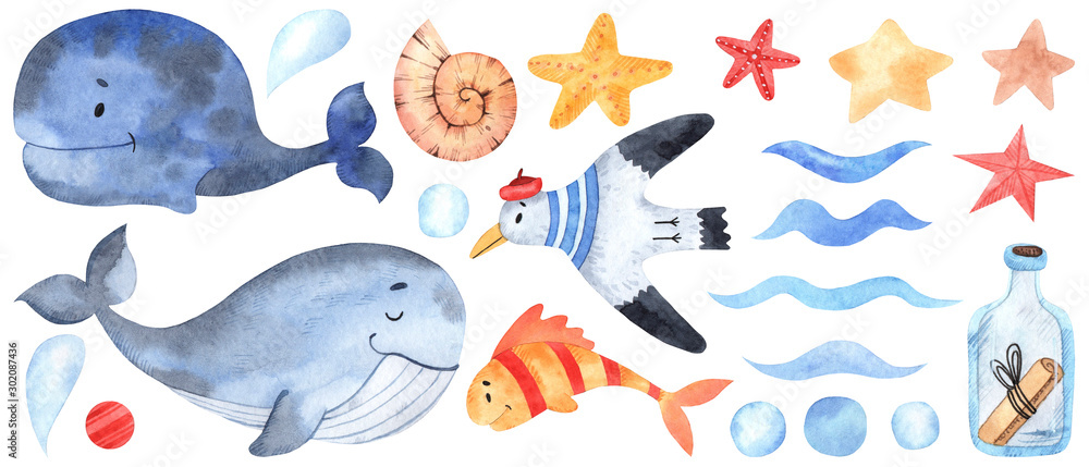 Fototapeta Watercolor marine elements for design and decoration. Great for postcards, posters, coupons, baby items design, decorative paper and any design.