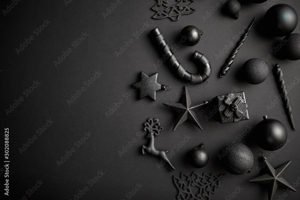 Fototapeta Christmas minimalistic and simple composition in mat black color
